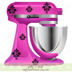 "Kitchenaid Mixer Damask Decals Decoration...Vinyl Decal for Stand Up  Mixer Kitchen Appliance.....Your choice of color"" on Etsy, $11.00"
