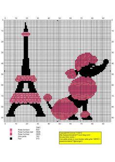 France - country - tour eiffel caniche - point de croix - cross stitch - Blog : http://broderiemimie44.canalblog.com/