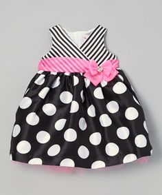 Love this Black & Pink Polka Dot Surplice Dress - Infant by Nannette on #zulily! #zulilyfinds