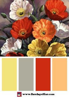 Autumn Poppies Color Palette. I love these colors for a kitchen. I can see the red on the walls, the cabinets painted a light grey, and the yellow and peach as accents. Lovely!