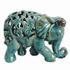 Ceramic Elephant with Crackle Blue Finish