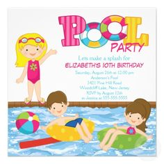 15 best kids pool party invitations images pool party invitations