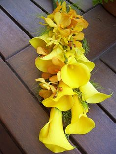 Yellow Calla Lilly and Orchid Bridal Bouquet