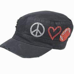 Black CADET CAP with Rhinestones – Peace, Love, FOOTBALL       Military style cadet cap     Crystal rhinestone design     Elastic on back