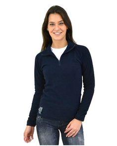 Fleece Térmico Feminino Meio Zíper (Thermo Fleece) - Azul Marinho #VoudeFiero #BlusaTermica #RoupaTermica #ComfortTime
