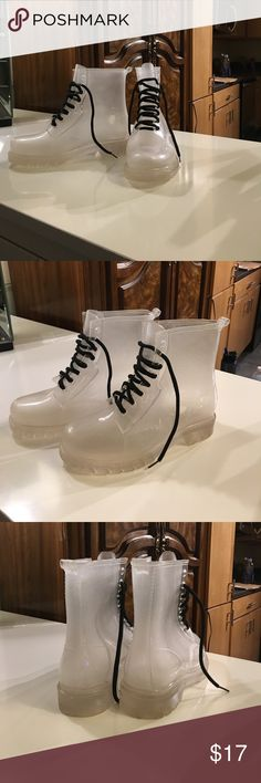 SUPER UNIQUE Clear combat boots These Dr Martin Replica boots are made of a rubber like material and see through.  They are a size 7 (China 40). These boots are in good condition but are pre owned and are not perfect which is reflected in the price. Shoes Combat & Moto Boots