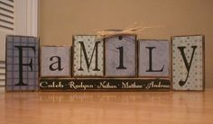 Personalized Family wood block set, can add any saying or names, housewarming, wedding, home decor. $27.95, via Etsy.