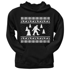Sasquatch Ugly Christmas Sweater Black Adult Pullover Hoodie