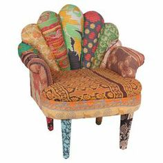 """Crafted from mango wood with a peacock-style back and vintage kantha cloth upholstery, this one-of-a-kind accent chair brings bright bohemian-inspired style to your decor.   Product: ChairConstruction Material: Vintage kantha cloth and mango woodColor: MultiFeatures: One-of-a-kindDimensions: 33"""" H x 20"""" W x 29"""" DNote: Due to the vintage nature of this product, some wear and tear is to be expected. Product may show signs of brand marks, scrapers or other blemishes."""