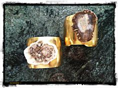 New Madagascar Petrified Wood Brass Cuffs by NKD Designs nkddesigns.com