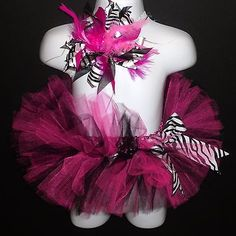 Pink Zebra Tutu Infant Newborn Matching Headband Outfit Black Hot Infant Baby | eBay