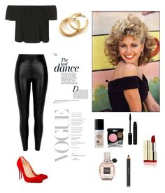 """Olivia Newton-John Inspired ""Grease""Outfit"" by justmeandmypersonality96 ❤ liked on Polyvore featuring Topshop, River Island, Christian Louboutin, Estée Lauder, Viktor & Rolf, Chanel and Anja"