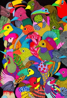 A colourful, detailed illustration of birds by Fly Chen, who has just graduated from the illustration degree course at Central Saint Martins and is a part of our Talentspotting scheme. Textile Prints, Textile Patterns, Textile Design, Print Patterns, Bird Illustration, Pattern Illustration, Bright Colors Art, Colours, Creative Review