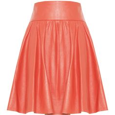 Alice + Olivia Luann Leather Wide Waistband Flare Skirt ($484) ❤ liked on Polyvore