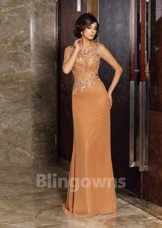 Sleeveless Bateau Zipper A-line Appliques Orange Chiffon Ruched Floor Length Mother Of The Bride Dresses