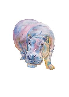 hippo watercolor painting with a twist   Hippo - Animal Paintings - A4 11.7x8.3in - Watercolor Painting ...