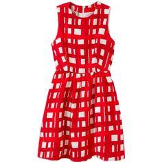 Sleeveless Gridded Empire-waist Chiffon Dress (330 ARS) ❤ liked on Polyvore featuring dresses, vestidos, red chiffon dress, sleeveless dress, red empire waist dress, red sleeveless dress and chiffon dress