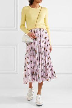 Prada - Printed Plissé-crepe De Chine Midi Skirt - Baby pink - IT42