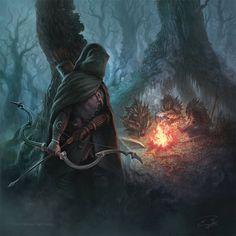 m Ranger Med Armor Cloak Longbow Sword Campfire Hobgoblin deserters night forest hills Expert Trackers by KoTnoneKoT on DeviantArt Arte Final Fantasy, Fantasy Concept Art, High Fantasy, Fantasy Rpg, Medieval Fantasy, Fantasy Artwork, Fantasy World, Fantasy Setting, Wow Art