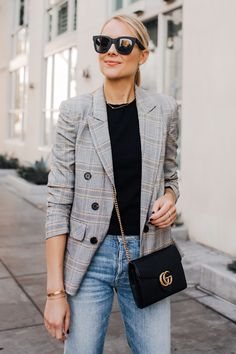 Blonde Woman Wearing Plaid Blazer Outfit Jeans Gucci Black Handbag Fashion Jackson San Diego Fashion Blogger Street Style