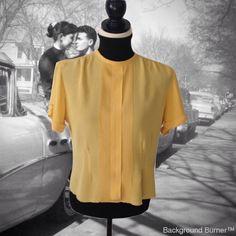 50's Blouse, Crepe, Mac Shore Classics, Mustard Yellow, Pintuck Front, Short Sleeve, Button Down Back, Women's Blouse