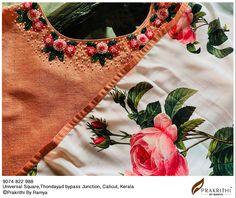 Embroidery On Kurtis, Kurti Embroidery Design, Flower Embroidery Designs, Beaded Embroidery, Salwar Designs, Blouse Designs, Kurtha Designs, Anarkali, Saree