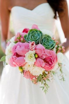 Peony, Dahlia, Rose and Succulent wedding bouquet