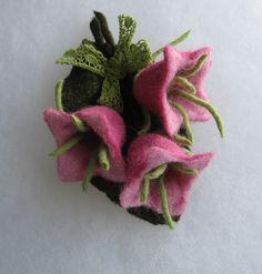 Flowers Brooch Felted Flower Brooch Wool brooch Pink by JurateDD,.00