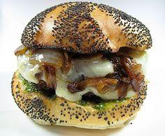 Garlic-Pesto, Brie & Onion Burger