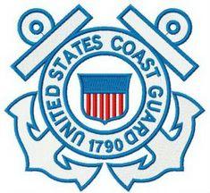 United States coast guard logo machine embroidery design. Machine embroidery design. www.embroideres.com