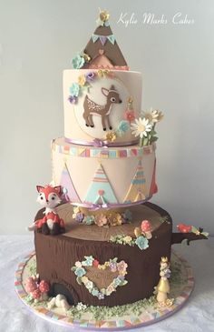 Indian Birthday Parties, First Birthday Party Themes, 2 Birthday Cake, Pretty Cakes, Cute Cakes, Beautiful Cakes, Yummy Cakes, 1st Year Cake, Animal Cakes