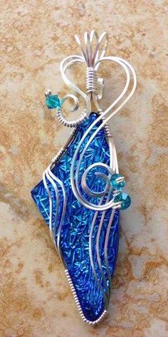 Turquoise Wire Wrapped Dichroic Glass Pendant | jewelrybyjorgy - Jewelry on ArtFire