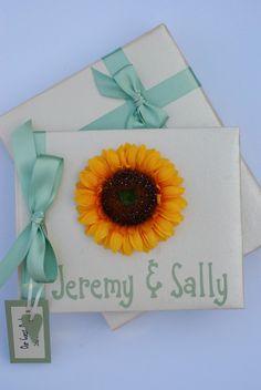 Sage Green and Sunflower Wedding Guest Book £25.00