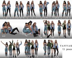 """The Sims 4 PosePack """"Only girls"""" Studio Photography Poses, Fashion Photography Poses, Children Photography, Travel Photography, Sims 4 Couple Poses, Couple Shoot, Sims 4 Family, Sims 4 Black Hair, Poses For Pictures"""