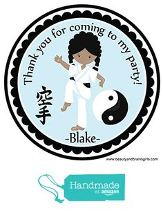 Karate Girl Darker Tone Skin Personalized Stickers Birthday Party Favors - Treat Tag Toppers- 24 Stickers Popular Size 2.5 Inches. Peel- and- Stick Backing Self-Adhesive Stickers from Custom Party Favors, Handmade Craft , and Educational Products http://www.amazon.com/dp/B01EBG43KG/ref=hnd_sw_r_pi_dp_-5kfxb0Y57NZR #handmadeatamazon