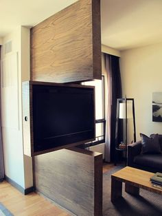 TV Swivel Concepts – Very Practical And Perfect For Modern Homes - Architektur. - Home Theater Deco Design, Design Case, Small Apartments, Small Spaces, Tv Room Small, Swivel Tv Stand, Tv Swivel Mount, Partition Design, Interior Decorating