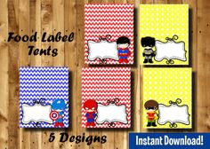Superhero Food Label Tents 5 Designs  INSTANT by DigitAllParty