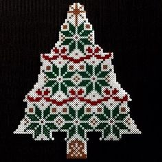 Christmas tree hama perler beads by Perler Bead Designs, Hama Beads Design, Pearler Bead Patterns, Perler Bead Art, Perler Patterns, Christmas Perler Beads, Pearl Crafts, Peler Beads, Iron Beads