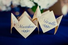 Cootie Catchers as wedding programs or favors or just something fun for your guests to play with.