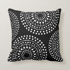 Shop Primitive Boho Mosaic Pattern Black Throw Pillow created by AnyTownArt. Black And White Pillows, Black And White Design, Black White, Geometric Box, Black Throw Pillows, Accent Pillows, Primitive Patterns, Decorative Cushions