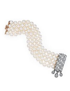18 Karat Gold, Blackened Silver, Diamond and Cultured Pearl Bracelet, Jar, Paris - Sotheby's