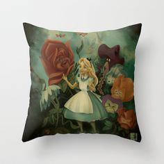 La fiesta del jardín por las tardes Throw Pillow by Juls Sosa - $20.00    Alice in Wonderland - Disney