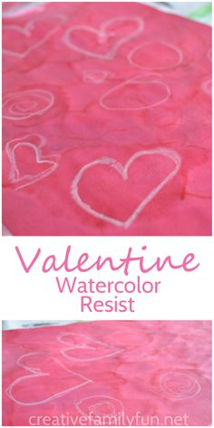 Make beautiful Valentine's Day kid art with a fun technique. These Valentine watercolor resist paintings are a fun process art project for February that is fun for kids of all ages. Process Art Preschool, Preschool Art Activities, Kindergarten Art Projects, Preschool Calendar, Abc Preschool, Preschooler Crafts, Classroom Activities, Valentine Crafts For Kids, Valentines Day Activities