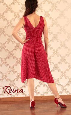 Tango Milonga rouge robe à pois blancs et fentes par reinatango