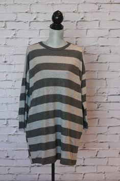 Grey Tunic of Softest Stripes Fall Fashions, Striped Knit, Grey Stripes, Knitted Fabric, Autumn Fashion, Turtle Neck, Tunic, Knitting, Long Sleeve