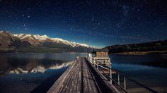 #Water #Landscape #Mountains #Stars #Lake #Wallpaper