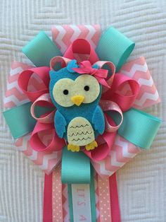 Hey, I found this really awesome Etsy listing at https://www.etsy.com/listing/209803925/pink-baby-shower-owl-corsage-its-a-girl: