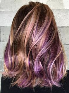 36 Shinny Contrasts Of Balayage & Purple Hair Color Trends 2018
