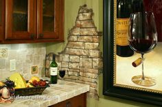 one of my favorites: exposed brick wall, gives such character to the home Faux Brick, Faux Stone, Faux Painting Walls, Faux Paint Finishes, Exposed Brick Walls, Fake Walls, Stone Walls, Kitchen Decor Themes, Room Decor