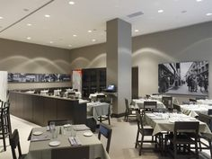 restaurant--I would paint that acoustical tile, would give much more expensive feel Restaurant Design, Restaurant Bar, Interior Photo, Interior Design, Bistro Interior, Packaging Box, Pattern Floral, Layout, Commercial Design
